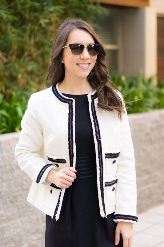 Chanel-inspired blazer | Talbots Provence Tweed Jacket |Chanel-inspired tweed jacket | Ivory blazer | Work outfit inspiration | Petite fashion and style blog | Banana Republic Sloan pants | Ferragamo bow heels | Hermes belt | Tory Burch Gold belt | Express red blouse | Sheath dress | Fleece lined opaque black tights | Pearl statement necklace
