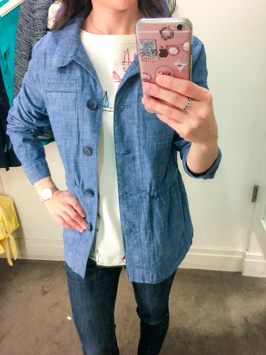 Talbots Spring Collection 2018 review | early spring outfit ideas | yellow tie-front sweater review | teal green striped tee | chambray twill jacket | no close cardigan | sailboat top | scallop help wrap skirt | petite fashion and style blog | petite fashion advice help | style help | capsule wardrobe