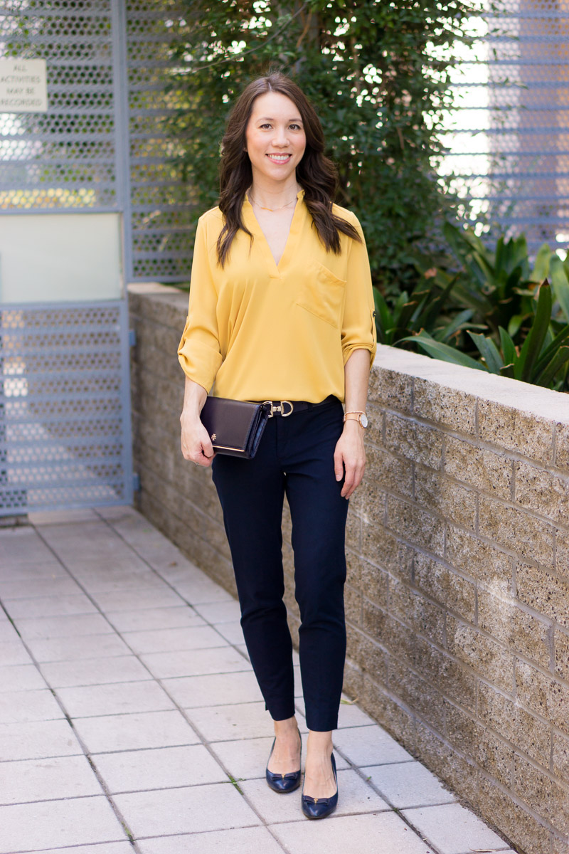 How To Wear Navy Mustard Yellow Together 9 Affordable Tops