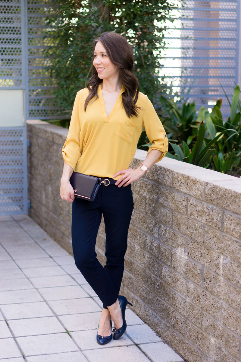 bd7fd0e9ab51 How to Wear Navy   Mustard Yellow Together + 9 Affordable Tops