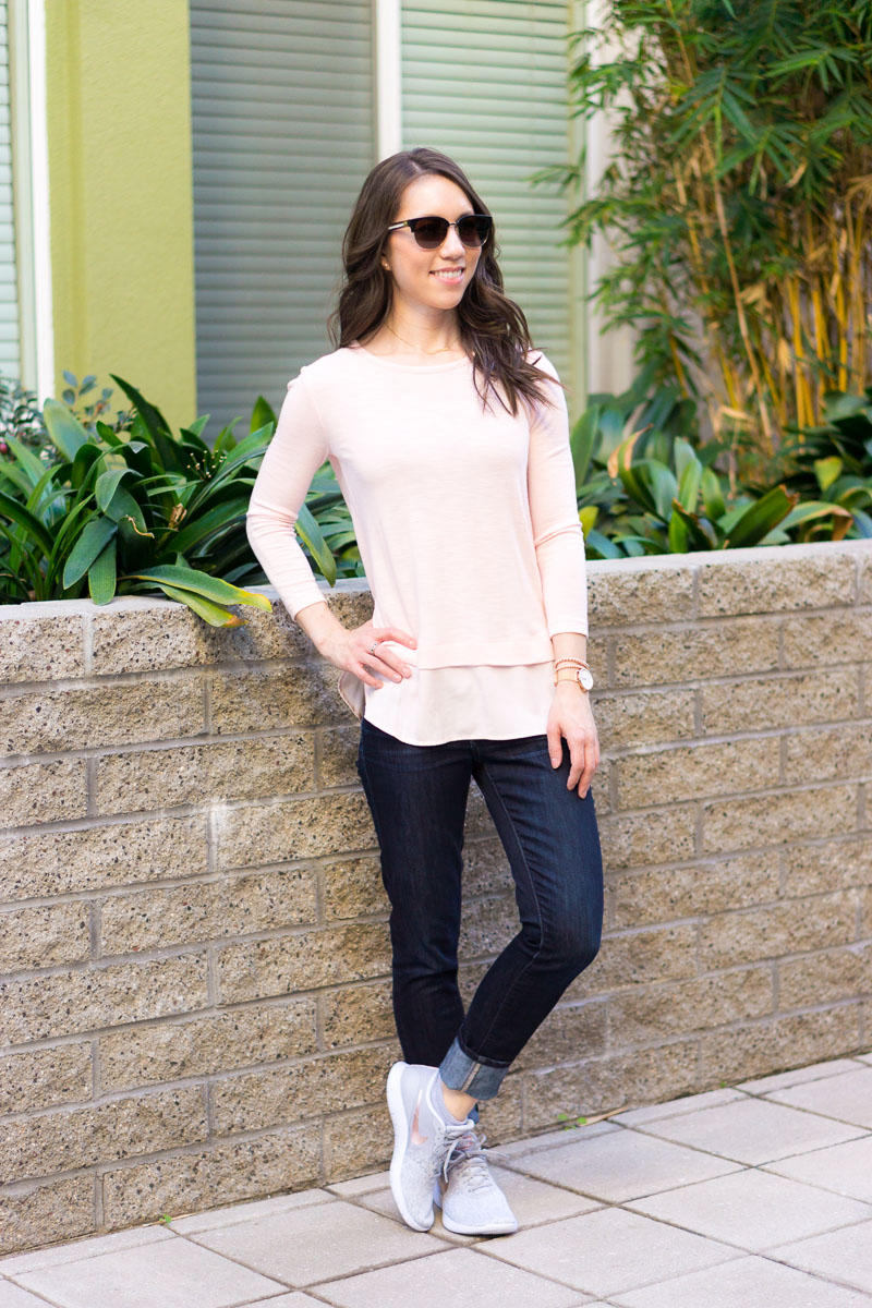 Weekend Sales & Fit Reviews | Petite fashion and style blog | J. Crew scallop sidewalk skirt | Nike Flex Contact Rose Gold Sneakers review | J. Crew Drapey T-shirt | Bobeau fleece cardigan | Macy's Tunic | Neiman Marcus ivory leather jacket | Ann Taylor pointelle turtleneck | mustard yellow blouse | yellow & navy | gibson burgundy cardigan