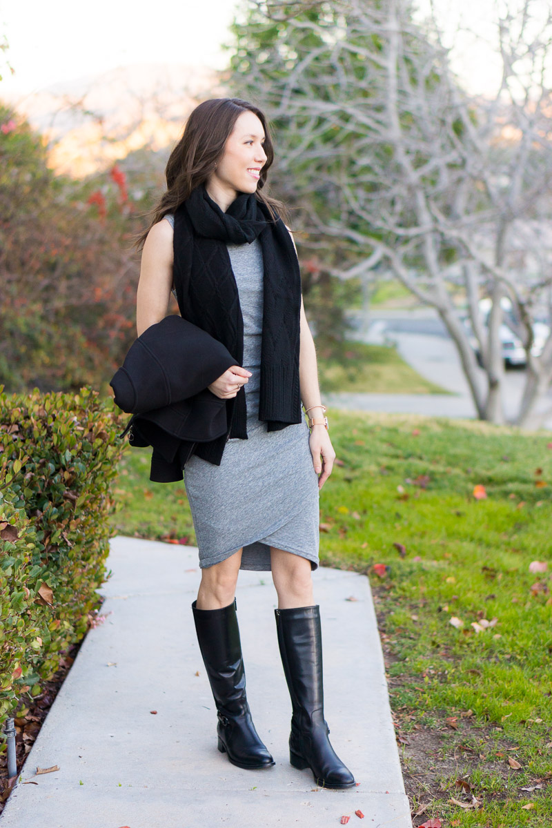 Leith Dress Gray | How to Style Winter Scarves | How to style blanket scarves | scarf tutorial video | Infinity scarf review | Krochet kids | Nordstrom tissue scarf review | Nordstrom Sole Society blanket scarf | plaid windowpane scarf | Banana republic wool camel black scarf | petite fashion and style blog