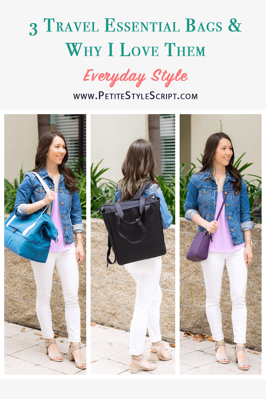 3 Travel Essentials I'm Loving this Season | Smart & Stylish Travel Bags | Lo & Sons Review | Lo & Sons Pearl crossbody bag | Edgemont Backpack | Catalina Deluxe Tote Bag Weekender Bag | M. Gemi Attorno Sandals | Paige white denim | J. Crew Scallop camisole and denim jacket