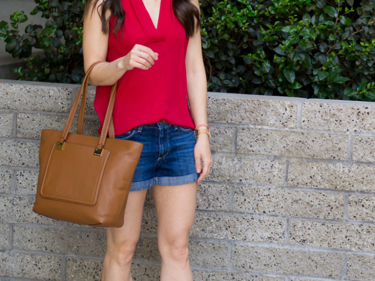 Two Summer Vacation Looks for Easy Outfit Ideas with Vince Camuto July 2018 Review of Shoes and Handbags with the Elison Laser Sandal Booties and Carran Flatform Sandal. Featuring the Vince Camuto Reta Tote Bag and Narra Wallet Bag with Paige denim shorts and a red sleeveless blouse. Perfect for summer capsule wardrobes, KonMari Method fashion & petite fashion and style.