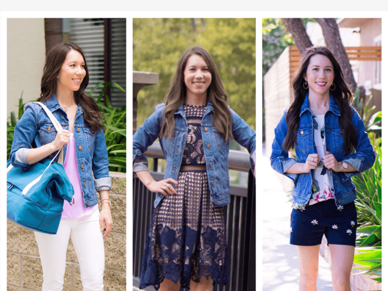 Three ways to wear a denim jacket from J. Crew or J. Crew Factory stores in petite-friendly sizing. Petite Fashion and Style Blog with Aqua lace dress, Shorts or Paige white denim and M. Gemi Attorno Scandals, Lo & Sons Catalina Bag