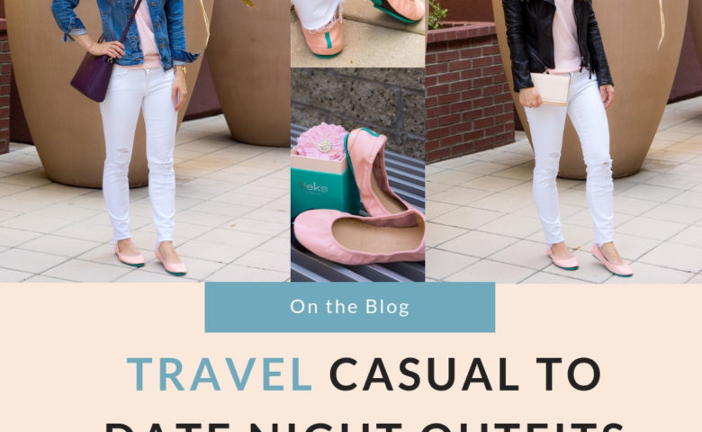 Tieks Cotton Candy Pink Ballet Flats Review with Sheec Socks SockShion Cushion for travel casual to date night outfit ideas for petite fashion style blog. Light pink ballet flats with J. Brand destructed white jeans, J. Crew Factory denim jacket, v-neck tee, Faux Leather Jacket, Lo & Sons Pearl purple crossbody bag, Tory Burch Leather Chain Wallet 4-in-one wallet handbag. Best no-show socks review. Summer capsule wardrobe free download minimalist fashion style KonMari Method. Dr. Jessica Louie